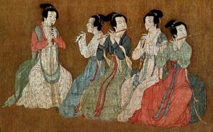 Gu Hongzhong, The Night Revels of Han Xizai, in Zhongguo lidai huihua: Gugong bowuyuan canghua ji, vol. 1. Beijing: Renmin meishu chubanshe, 1978. p. 91. Collection of the National Palace Museum, Beijing. Detail of handscroll (women musicians), ink & colors on silk, 28.7 x 335.5 cm